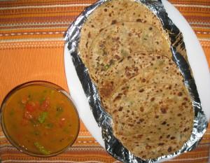 Mooli Paratha with Tomato Sabzi